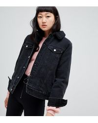 Weekday - Oversized Denim Trucker With Borg Lining - Lyst