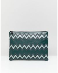 ASOS - Design Leather Large Pouch In Green With Zig Zag Print - Lyst