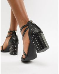 d8206f537dda Glamorous Barely There Mid Heeled Block Sandal In Black in Black - Lyst