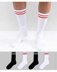 Jack & Jones - Retro Stripe Socks In 4 Pack - Lyst