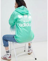 adidas Originals - Originals Nova Oversized Three Stripe Pullover Jacket In Green - Lyst