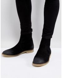 ASOS - Asos Chelsea Boots In Black Suede With Back Zip Detail With Natural Sole - Lyst