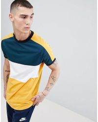 ASOS - Longline T-shirt With Curved Hem And Polytricot Yoke - Lyst