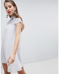 Lipsy - High Neck Embellished Swing Dress - Lyst
