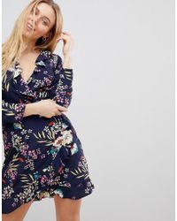 Girls On Film - Ruffle Wrap Dress In Tropical Print - Lyst
