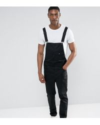 ASOS - Tall Chino Overalls In Black - Lyst