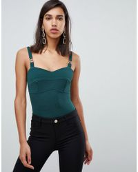 River Island - Body With Chain Straps In Green - Lyst