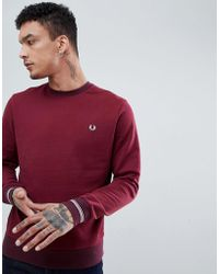 Fred Perry - Crew Neck Sweat In Burgundy - Lyst