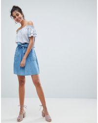 Oasis - Paperbag Waist Chambray Mini Skirts - Lyst