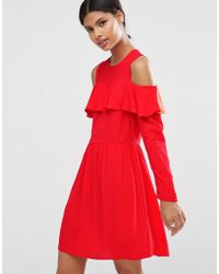 ASOS | Mini Cold Shoulder Dress With Ruffle Detail | Lyst