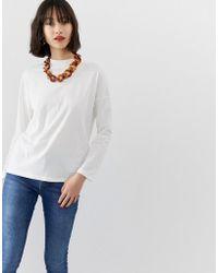 Mango - Long Sleeved T-shirt In White - Lyst