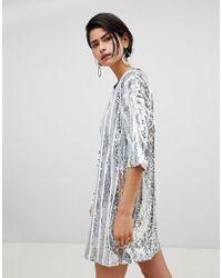 RAGYARD - Stripe Sequin T-shirt Dress - Lyst
