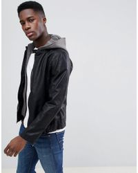 Esprit - Faux Leather Jacket With Removable Jersey Hood - Lyst