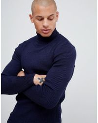 ASOS - Muscle Fit Ribbed Roll Neck Jumper In Navy - Lyst