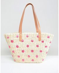 Chateau - Straw Beach Bag With Embroidered Polka Dots - Lyst