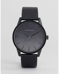 Unknown - Urban Ombre Black Leather Strap Watch - Lyst