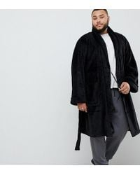 French Connection - Plus Fleece Robe In Black - Lyst