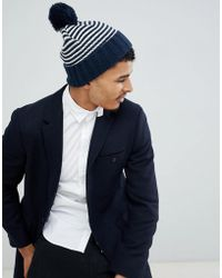 Jack & Jones - Knitted Stripe Bobble Beanie - Lyst