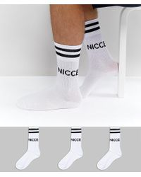 Nicce London - Sports Socks 3 Pack In White - Lyst