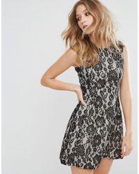 AX Paris - Contrast Lace Skater Dress - Lyst