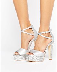 Faith - Layla Metallic Platform Heeled Sandals - Lyst