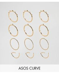 ASOS | Pack Of 12 Ball And Faceted Rings | Lyst