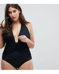 ASOS - Asos Design Curve Ruched Waist Plunge Swimsuit - Lyst