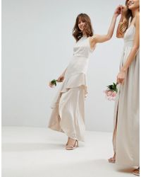 ASOS - Design Bridesmaid Satin Ruffle Hem Pinny Bodice Maxi Dress - Lyst