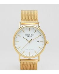 Reclaimed (vintage) - Inspired Mesh Strap Watch In Gold Exclusive To Asos - Lyst