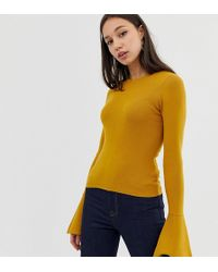 ASOS - Asos Design Tall Skinny Crew Neck Jumper With Flared Sleeve - Lyst