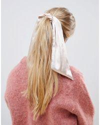 ASOS - Scrunchie Hair Tie With Scarf Detail In Pink - Lyst