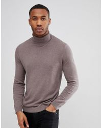 ASOS - Asos Cotton Roll Neck Jumper In Brown - Lyst
