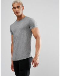 Esprit - Longline T-shirt With Raw Edges In Gray - Lyst