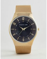 Christin Lars - Gold Watch With Round Black Dial - Lyst
