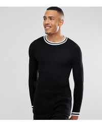 ASOS - Tall Muscle Fit Ribbed Crew With Tipping Detail In Black - Lyst