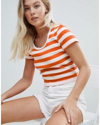 Weekday - Ribbed Stripe Crop Top In Red And White - Lyst