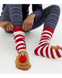 New Look - Rudolf Slipper Socks - Lyst