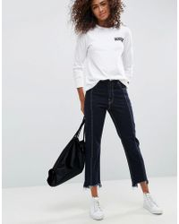 ASOS - Authentic Straight Leg Jeans With Vertical Seam In Indigo With A Contrast Stitch - Lyst