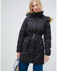 Warehouse - Longline Padded Coat With Faux Fur Trim In Black - Lyst