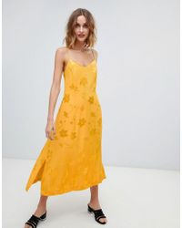 Warehouse - Strappy Midi Dress In Yellow Jacquard - Lyst