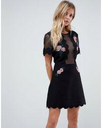 Isla - Taken Sheer Chest Floral Mini Dress - Lyst
