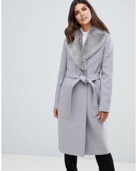 ASOS - Detachable Faux Fur Collar Coat With Tie Belt - Lyst