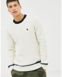 Abercrombie & Fitch - Icon Logo Varsity Knit Jumper In White - Lyst