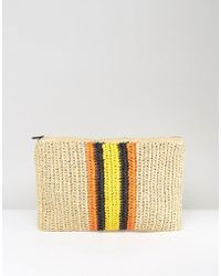Warehouse - Contrast Stripe Straw Clutch Bag - Lyst