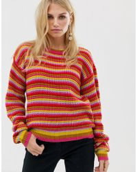 Pieces - Multi Coloured Stripe Waffle Knit Jumper - Lyst