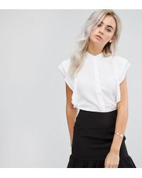 ASOS - Blouse With Frill Shoulder - Lyst