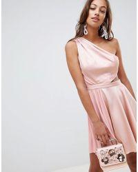 20dacdd1ea0 ASOS - Satin Half Pleated Cut Out One Shoulder Mini Dress - Lyst