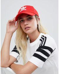 adidas Originals - Logo Cap In Red - Lyst