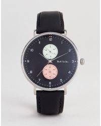Paul Smith - Ps0070004 Track Design Leather Watch In Black 42mm - Lyst
