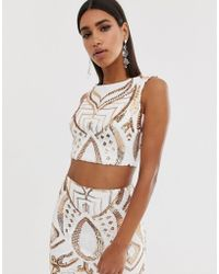 c16826c6ba4562 Goddiva - High Neck Placement Sequin Crop Top In White And Gold - Lyst